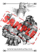 Image - Stock Art - Grayscale - Stock Illustration - Orc  - warrior - War - Fantasy