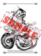 Image - Stock Art - Grayscale - Stock Illustration - Octopus mermaid - sea - monster