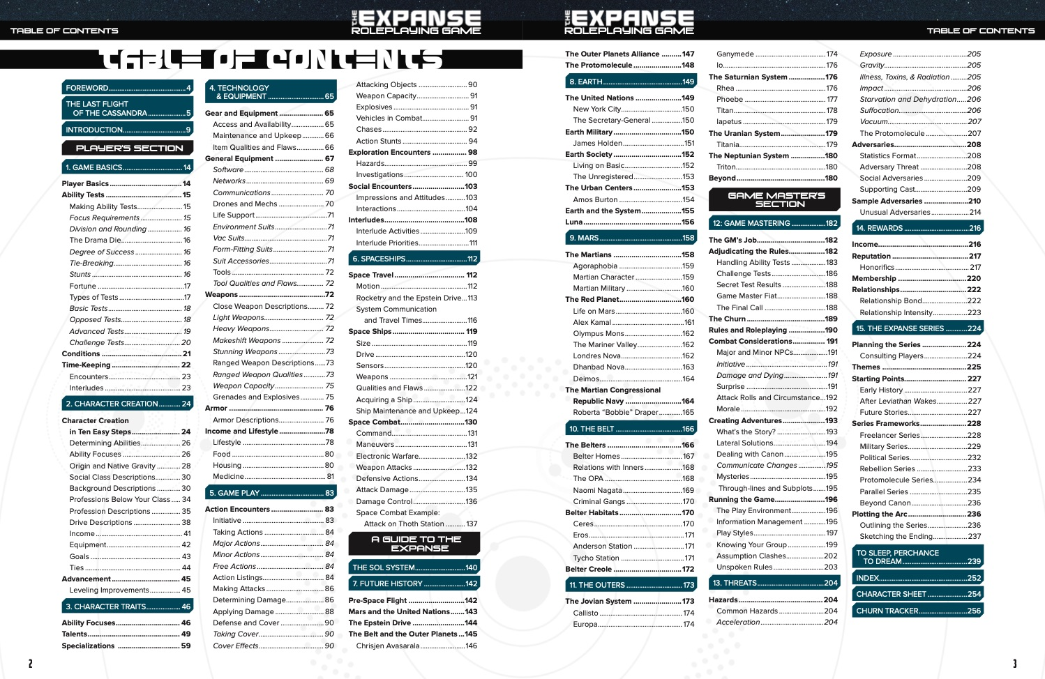 The Expanse Roleplaying Game Table of Contents image