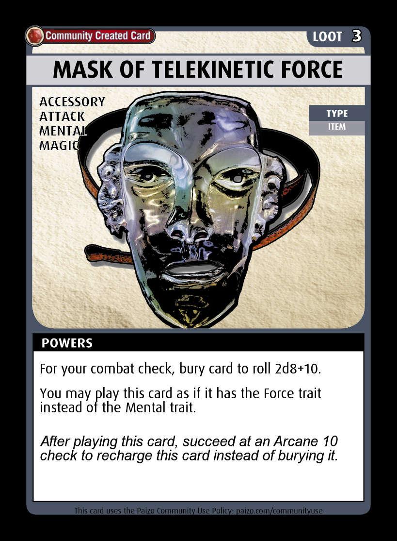 mask of telekinetic force custom card paizo pathfinder