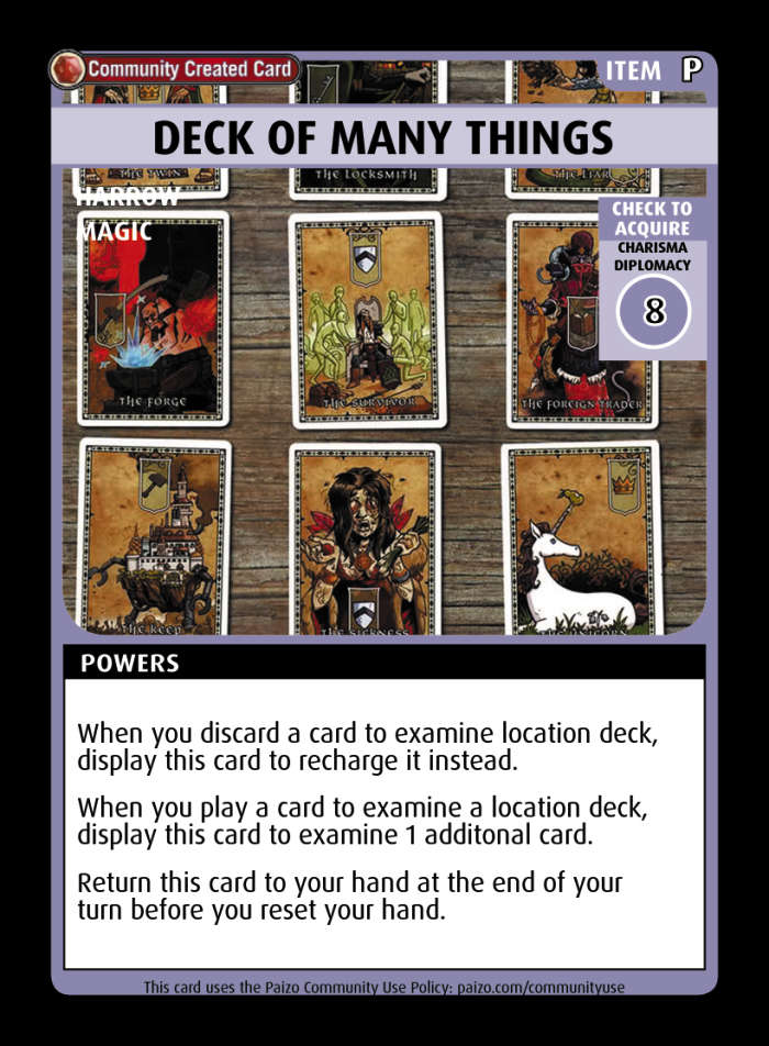 Deck Of Many Things - Custom Card - Paizo