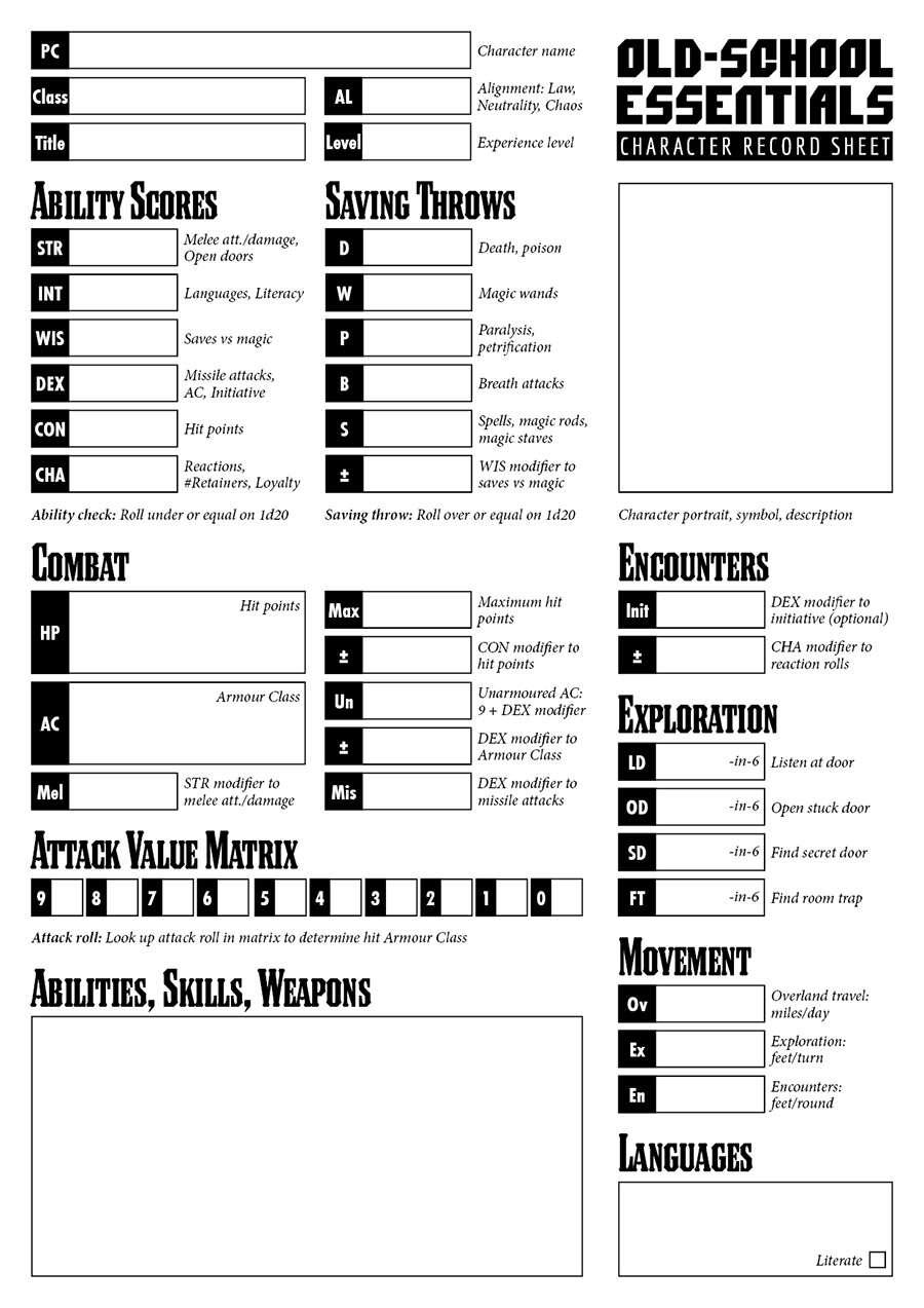 Old-School Essentials Purist Character Sheet - Necrotic