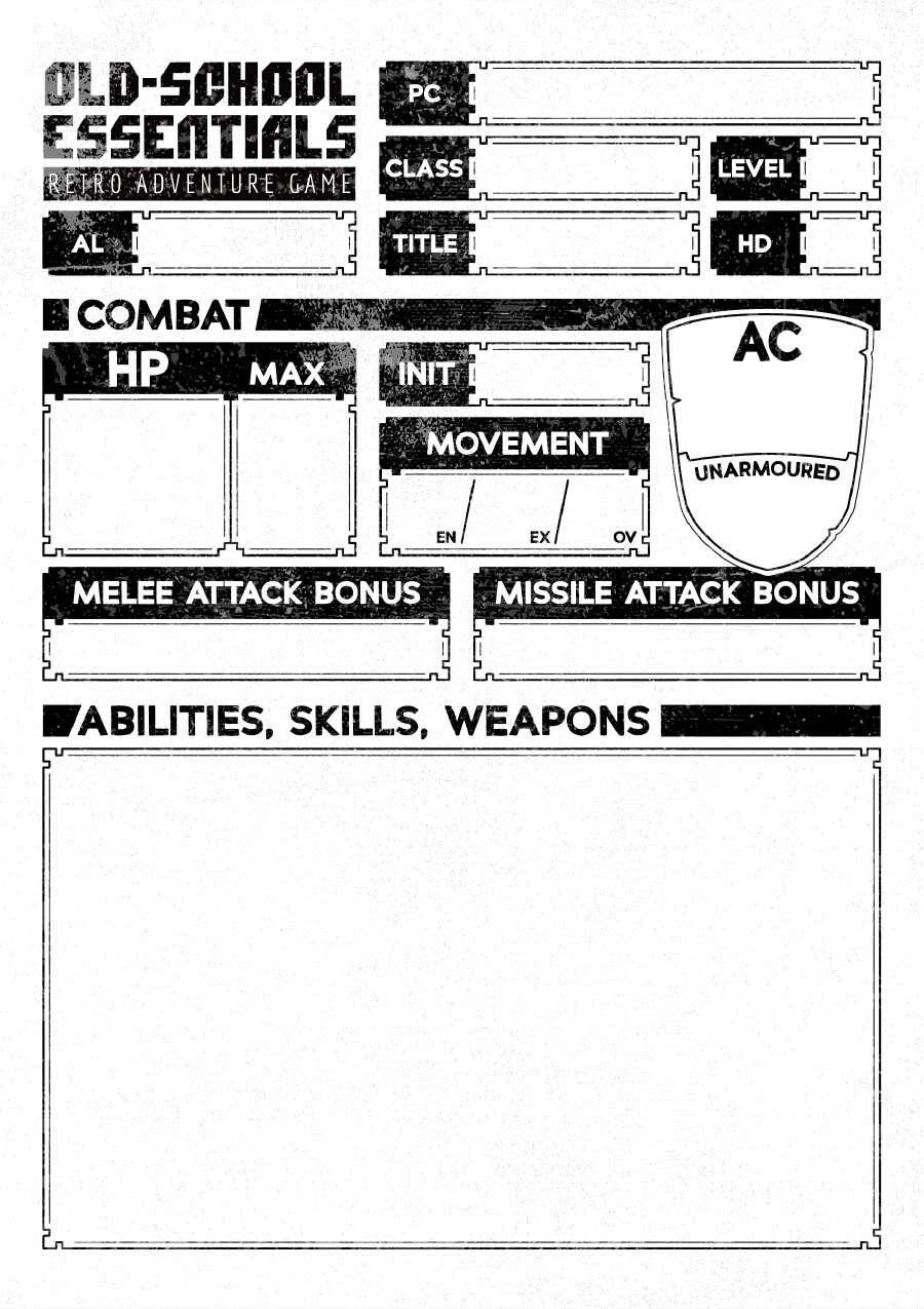 Old-School Essentials Vagabond Character Sheet (Ascending AC