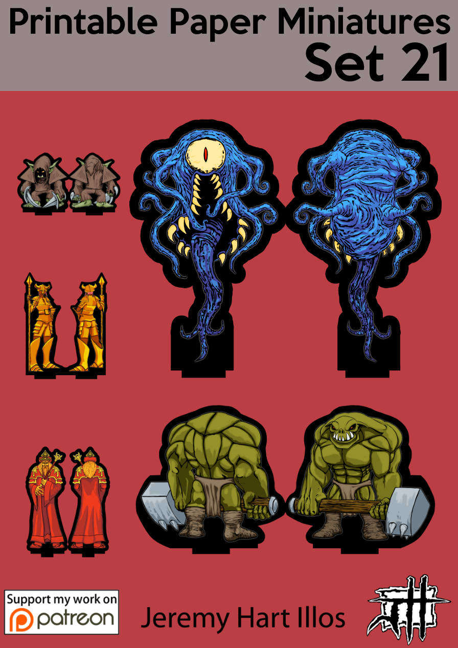 This is an image of Slobbery Printable Paper Miniatures