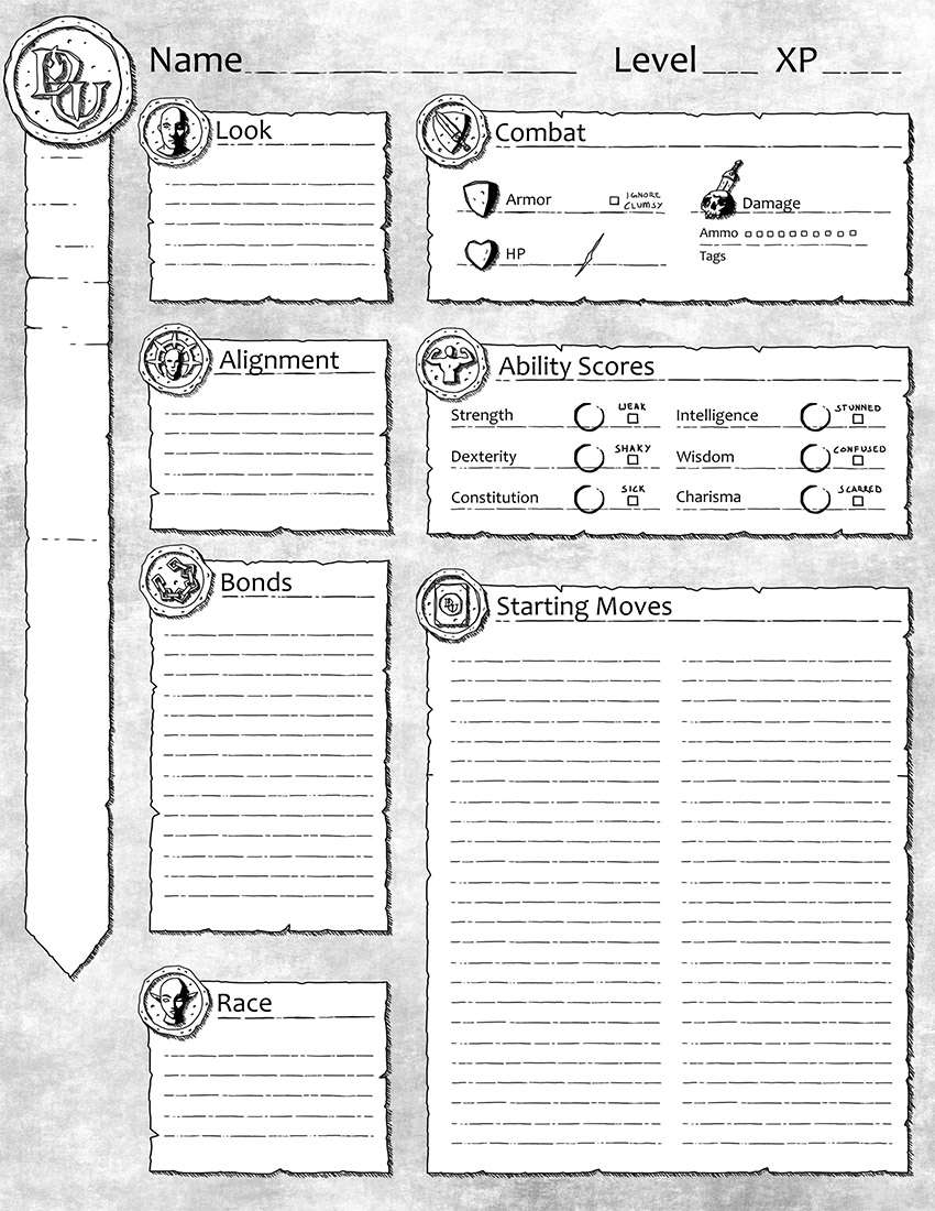 Dungeon World Alternative Character Sheet - Awful Good Games