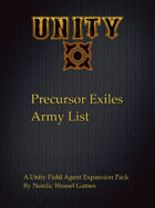 Precursor Exile Army list for Unity Field Agent