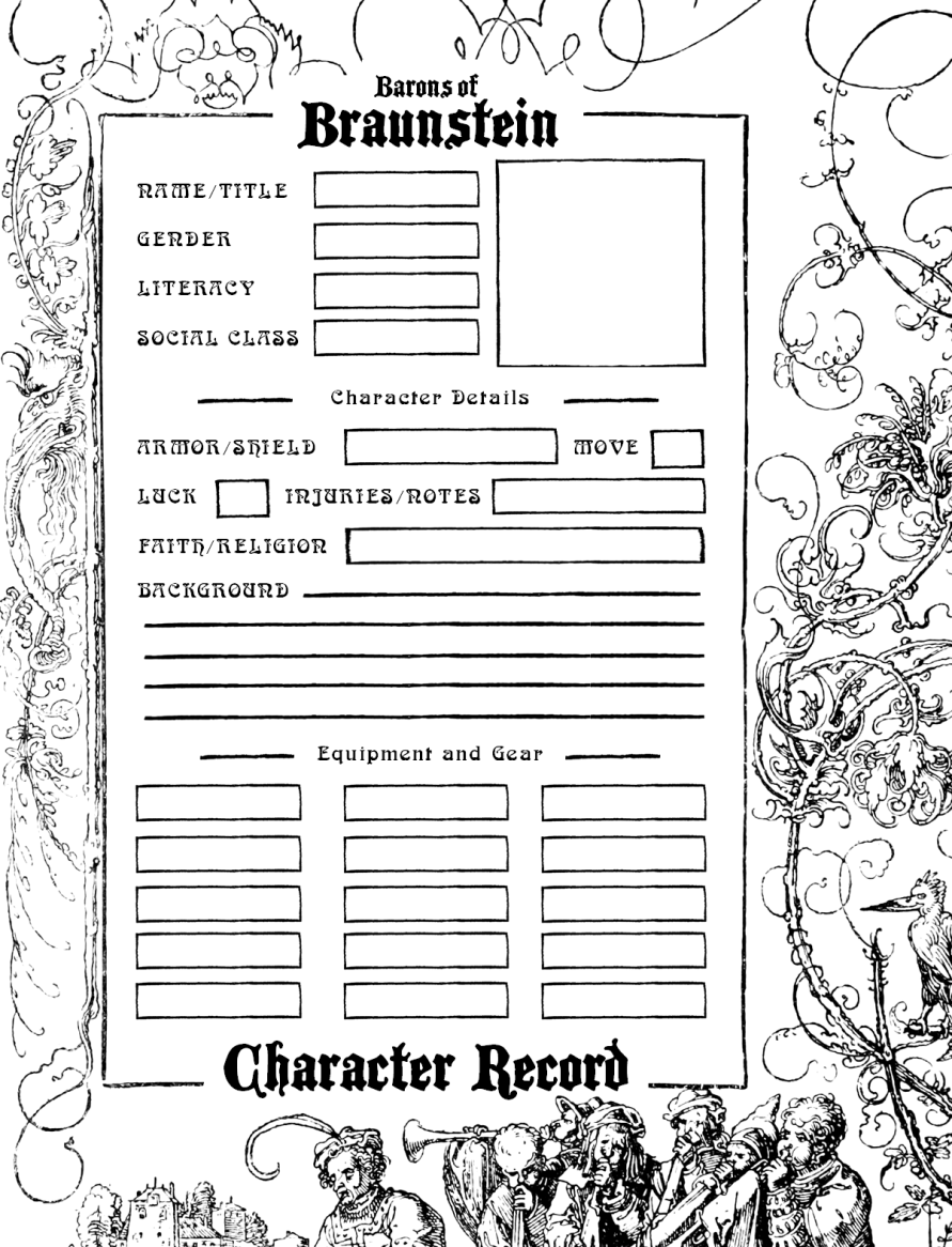 Barons of Braunstein Character Record - Olde House Rules