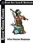 Stock Art: Blackmon Male Halfling Barbarian