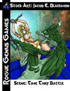 Stock Art: Blackmon Scene Female Fighter and Lizard Battle