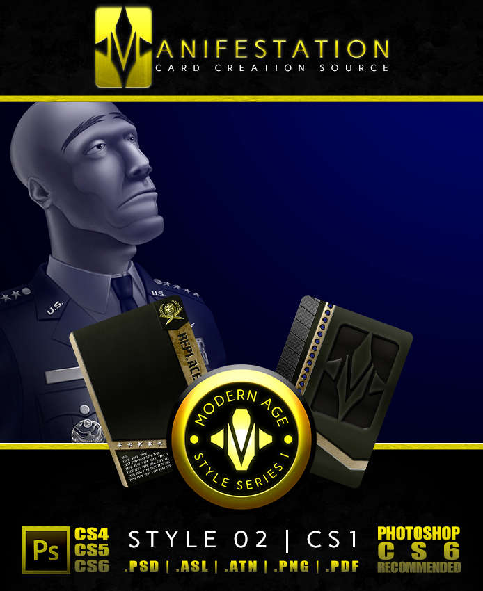 Manifestation CCS: Modern Age (Series I) Style 02 - Color Scheme 1  [Military Themed Card Game Design - TCG Borders] - Unknown Depths |