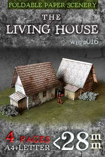 Paper model kit: Fantasy house. Foldable Paper Ccenery System. 28 mm, 1/72, 15 mm, 6mm scale