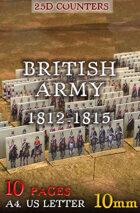 "British Army 1812-1815 (""10mm""). 2,5d Modular Wargames System"