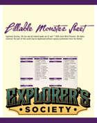 Fillable Monster Sheet