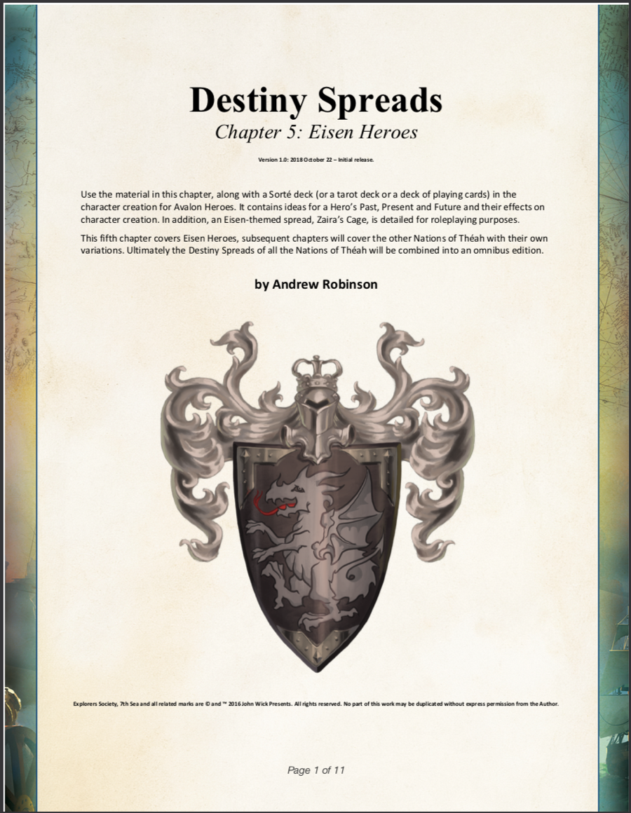 Destiny Spreads chapter 5 - Eisen Heroes - Chaosium | Explorer's Society |  DriveThruRPG com
