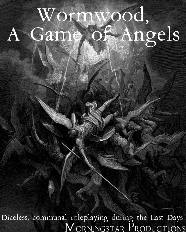 Wormwood, A Game of Angels cover image depicting a number of angels in the sky