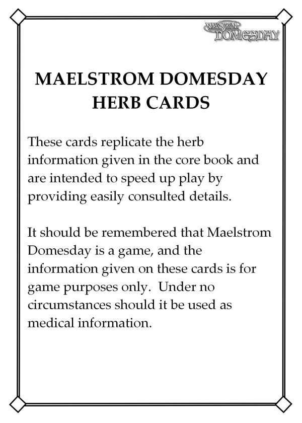 Maelstrom Domesday Herb Cards