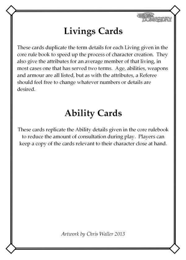 Maelstrom Domesday Livings Cards