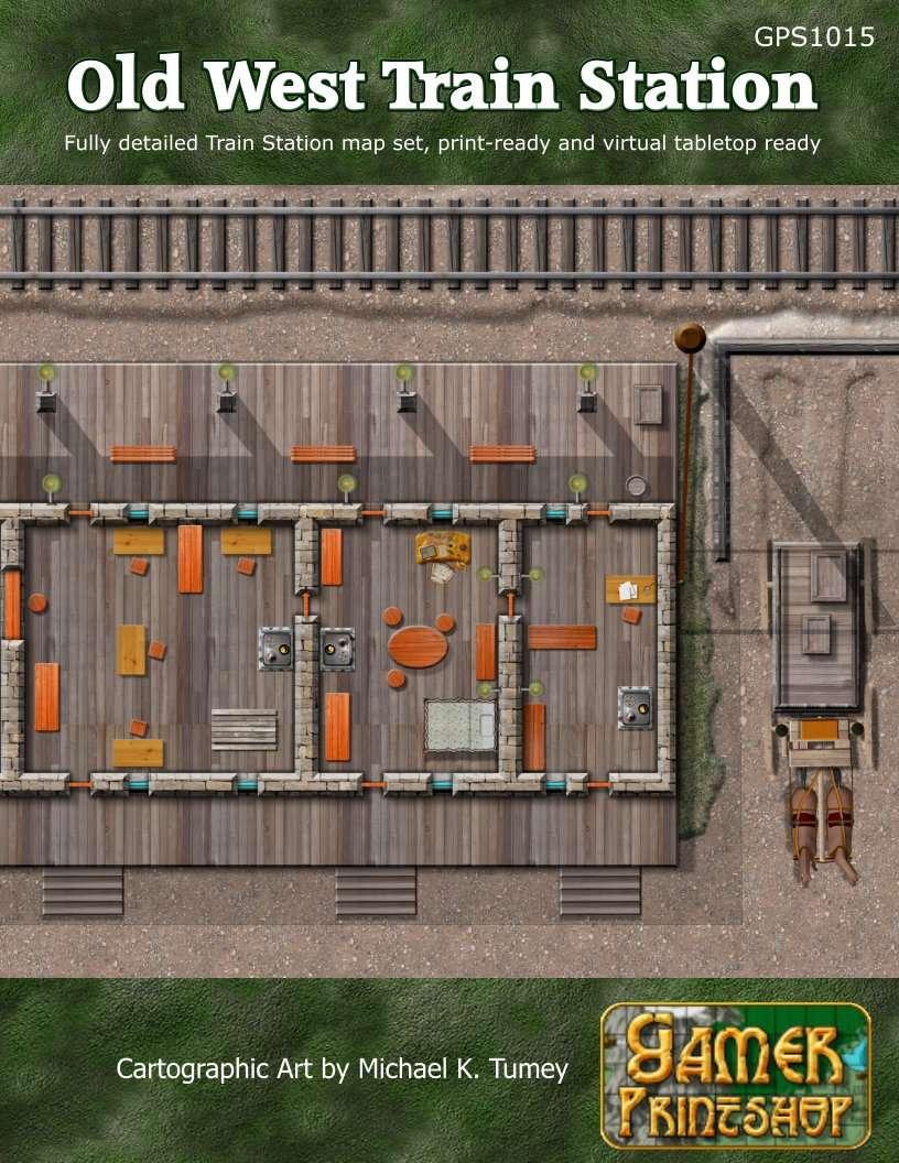 Old West Train Station Map Set Gamer Printshop Old