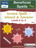 Beneficial Spell Cards - SW11 - Wizard & Sorcerer Spells - Levels 0 to 3