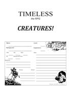 Timeless : Creatures - Character Sheet