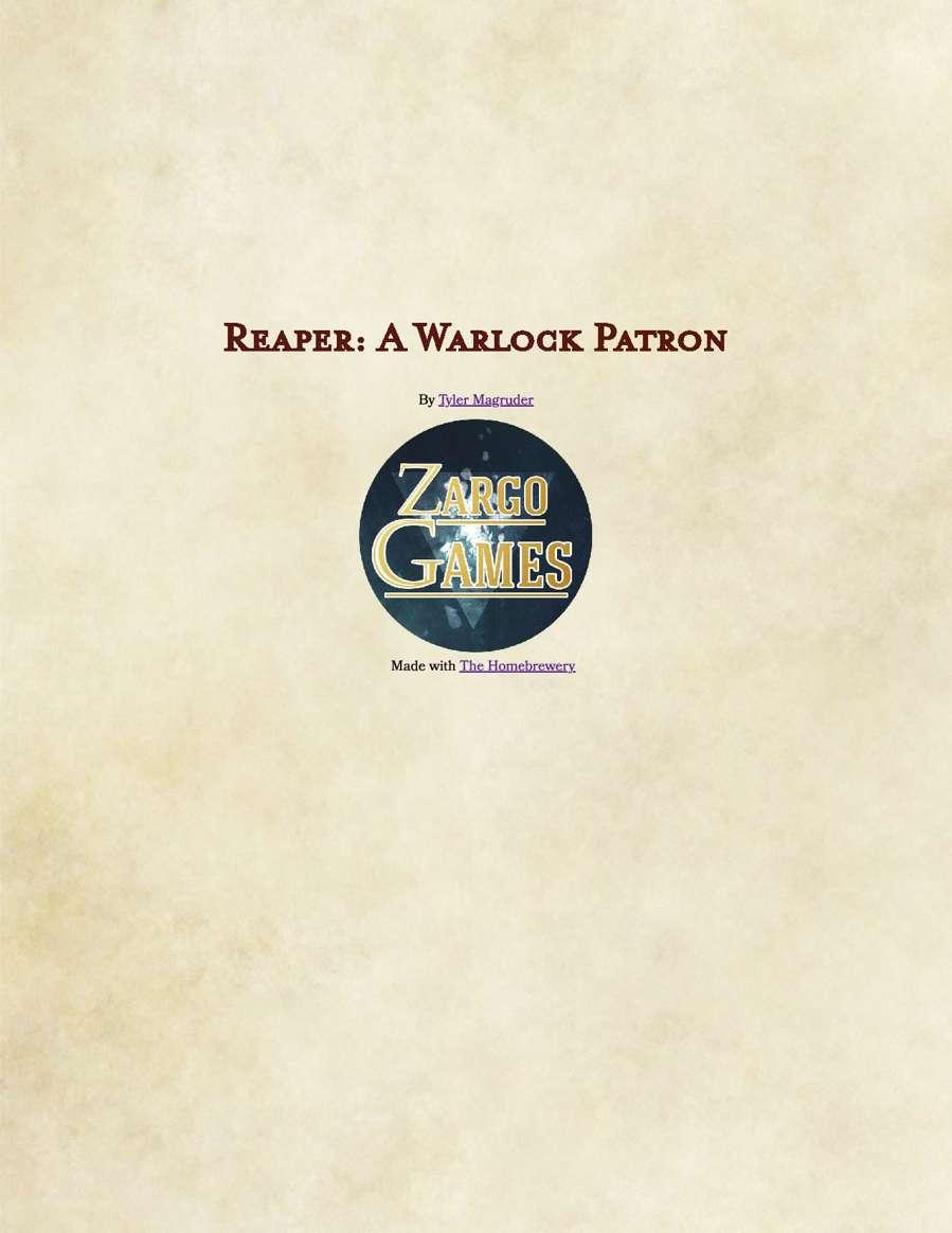 (5e) Reaper: A Warlock Patron
