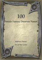 100 Female Fantasy Dwarven Names
