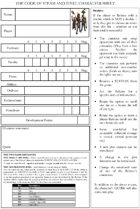 The Code of Steam and Steel - character sheet