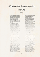 40 Ideas for Encounters in the City