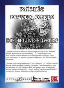 Psionic Power Cards: Discipline Powers - Dreamscarred Press | Pathfinder |  DriveThruRPG com