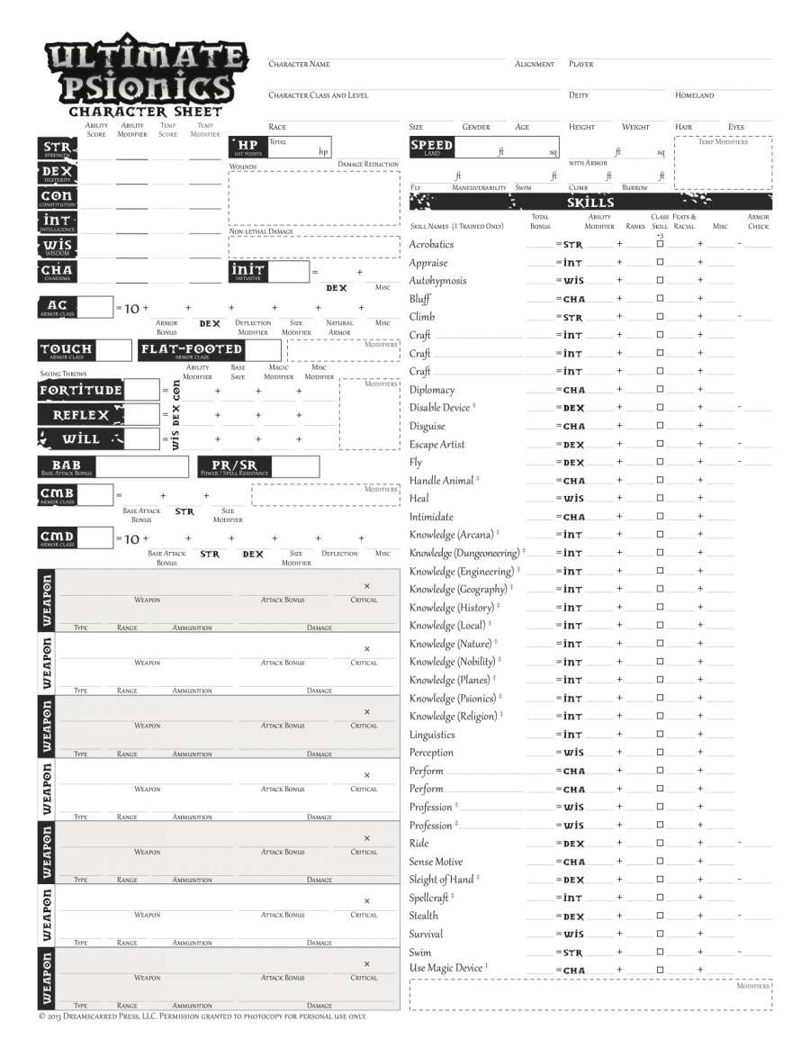 Psionic Character Sheets - Dreamscarred Press   Pathfinder