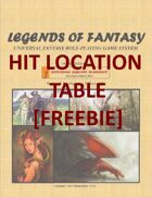 Legends of Fantasy- Hit Location Table