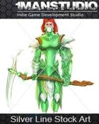 Silver Stock Art - Green Cyber Knight / Science-Fantasy
