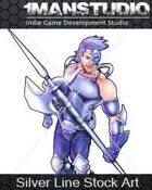 Silver Stock Art - Blue Cyber Knight / Science-Fantasy