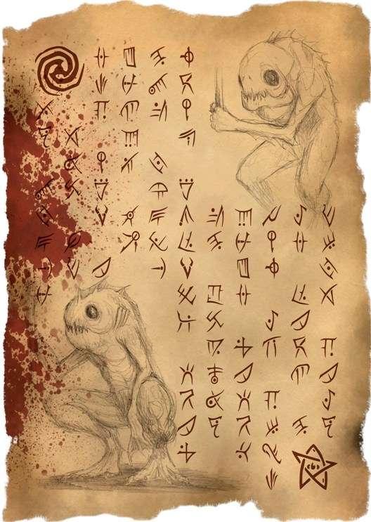 picture regarding Printable Necronomicon Pages titled Necronomicon Site 97 Deep Types (Horror Prop Handout
