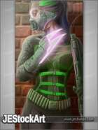 JEStockArt - SciFi - Female Cyberpunk Fighter with Energy Blade - DPB