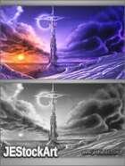 JEStockArt - Fantasy - Towering Spire at Sunset - DPB