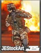 JEStockArt - Modern - Advancing Soldier in Combat Gear - CB