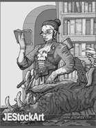JEStockArt - Steampunk - Monster Hunting Librarian - HQGWB