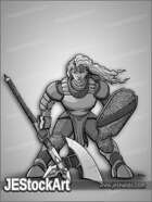 JEStockArt - Fantasy_Fighter - Armored Warrior with Axe and Shield - G