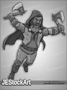 JEStockArt - Fantasy_Fighter - Dwarven Fighter with Hand Axes - G