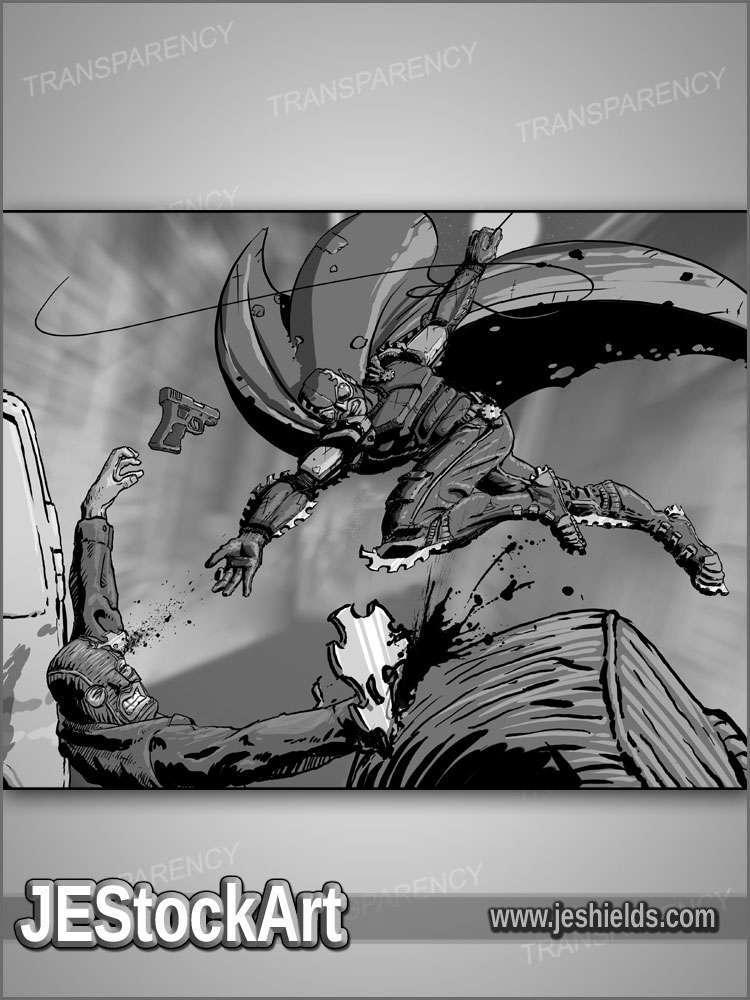 JEStockArt - Supers - Bladed Vigilante in Back Alley - HQG