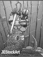 JEStockArt - Fantasy_Fighter_Paladin -Paladin versus Giant Serpent - GB