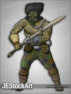 JEStockArt - Post Apocalypse - Tribal Warrior with Tattoos and Spear - CNB