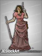 JEStockArt - History - Wary Riflewoman in Tattered Dress - CNB
