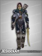 JEStockArt - SciFi - Armored Mercenary with Rune Sword - CNB
