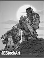 JEStockArt - Post Apocalypse - Armed Guard And Youth - GB