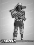 JEStockArt - Post Apocalypse - Female Wanderer With Peg Leg - GNB