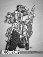 JEStockArt - Post Apocalypse - Mechanic Biker Searching - GNB