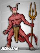 JEStockArt - Fantasy - Horned Demon with Trident - CNB