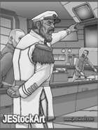 JEStockArt - SciFi - Ship Commander Barking Orders - GWB